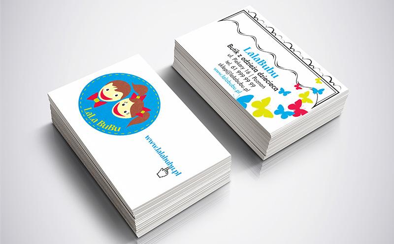 projekt wizytówek dla butiku dziecięcego LalaBubu