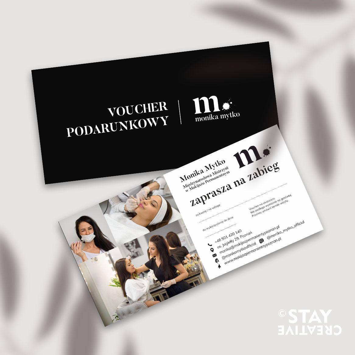 Voucher prezentowy dla salonu kosmetycznego Monika Mytko byStay Creative