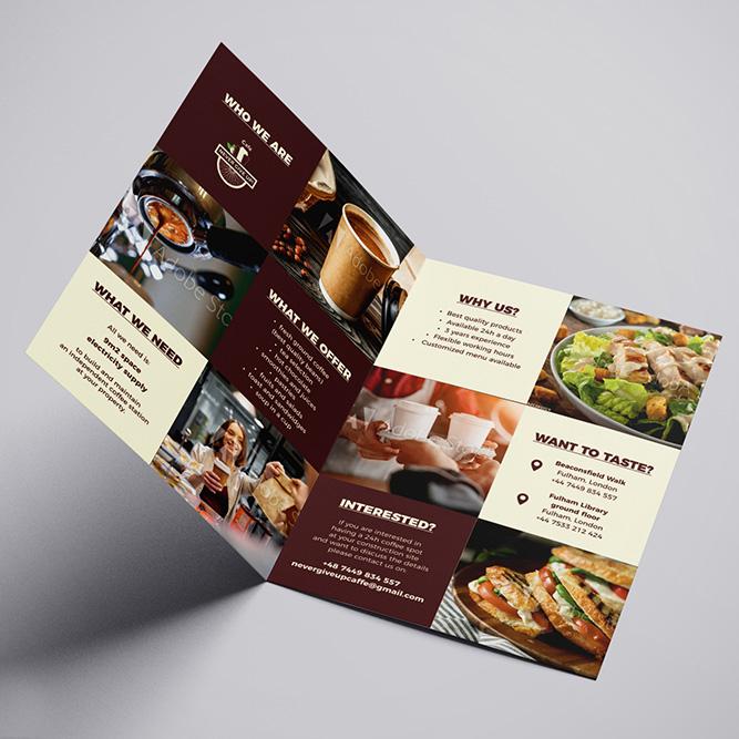 Projekt folderu ofertowego dla londyńskiej kawiarni Never Give Up Cafe (byStay Creative)
