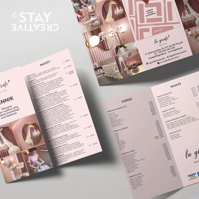 Projekt folderu / cennika usług dla salonu kosmetycznego La Girafe naPoznańskich Jezycach (byStay Creative Karolina Turlejska)