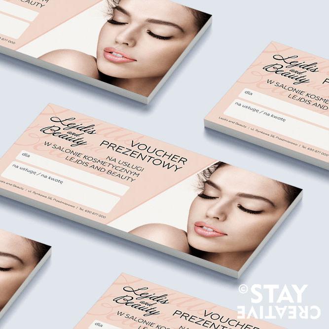 projekt voucherów dla salonu kosmetycznego Poznan